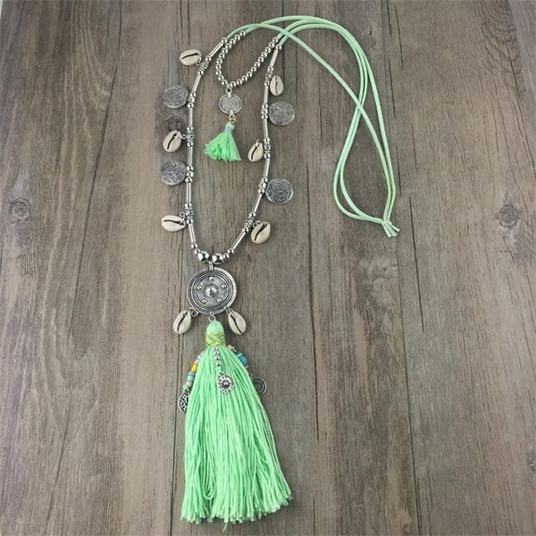 Double Layer Bohemian Long String Chain Necklace Shell Bead Alloy Tassel Pendants