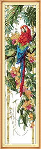 The Parrot and Flowers DMC Cross Stitch 14CT 11CT DIY Needlework Chinese Kits