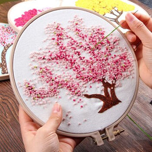 Sakura Flower DIY Embroidery Needlework Kits Handwork for Beginner Cross Stitch