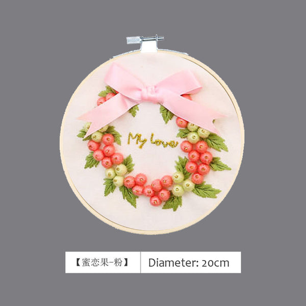 3D Ribbon Bow-knot Embroidery Needlework Cross Stitch Sewing with Hoop Kits For Beginner