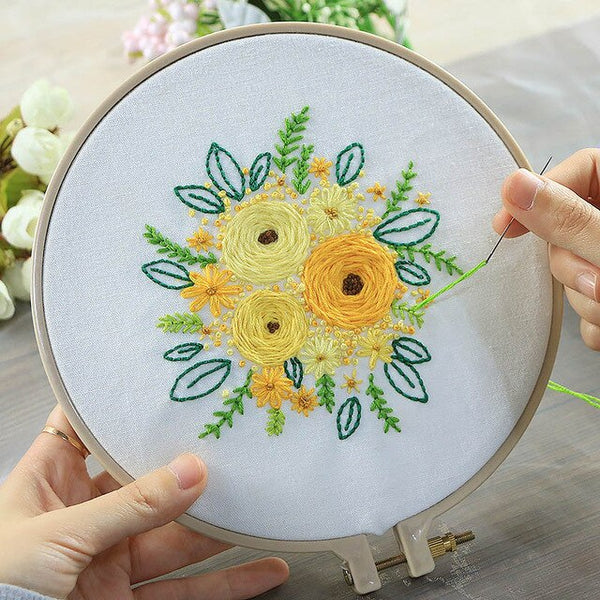 DIY Flower Bouquet Handmade Embroidery Kits for Beginner Ribbons Needlework Kits