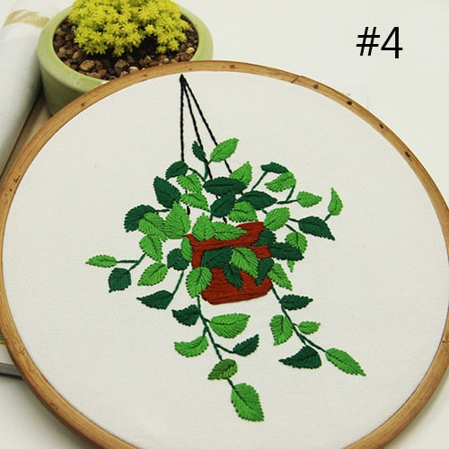 DIY Embroidery with Hoop Succulents Plant Cactus Needlework Cross stitch Sewing Kit