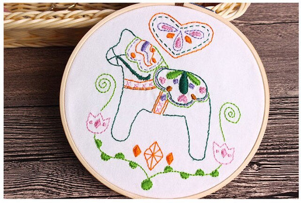 Cartoon DIY Embroidery Handwork Needlework Kits for Beginner Cross Stitch Swing Ribbon
