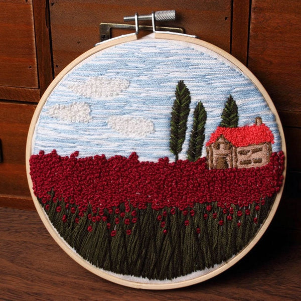 3d DIY Landscape Embroidery Print Cross Stitch Kit Needlework DIY Manual Beginner