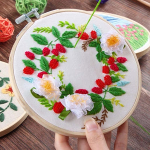 3d DIY Flower Embroidery Print Cross Stitch Kit Needlework with Hoop Ribbon Wall Painting