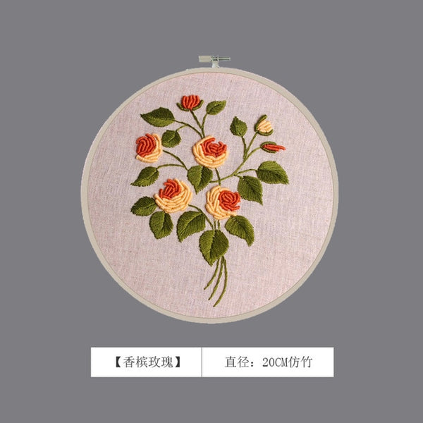 3D Floral Embroidery Kits Printed Handcraft Plant Flower DIY Handmade Needlework