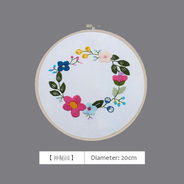 DIY Flower 3D Embroidery Cross Stitch Needlework Kits Stitching Embroidery Hoop