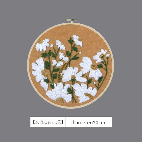 3D DIY Daisy Flower Hand Embroidery Kits Printed Needlework Cross-Stitching Sewing Craft
