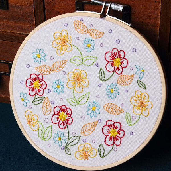 DIY Embroidery Kits Needlework with Hoop for Beginner Kits Flower Patterns Cross Stitch