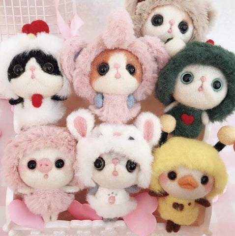 Plush Dolls wool needlepoint kit  wool felt needle felting Decoration craft needlecraft DIY handmade