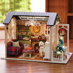 Christmas Gifts Miniature DIY Doll House Kits Wooden Furniture Forest Time