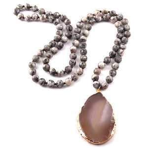 Semi Precious Stones Long Knotted Stone Drop Pendant Necklaces