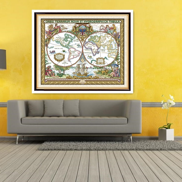 Old World Map Chinese Counted Cross Stitch Patterns DMC