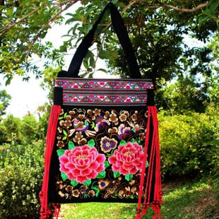 national Fashion embroidered bags handmade flower embroidery ethnic cloth shoulder bag handbags