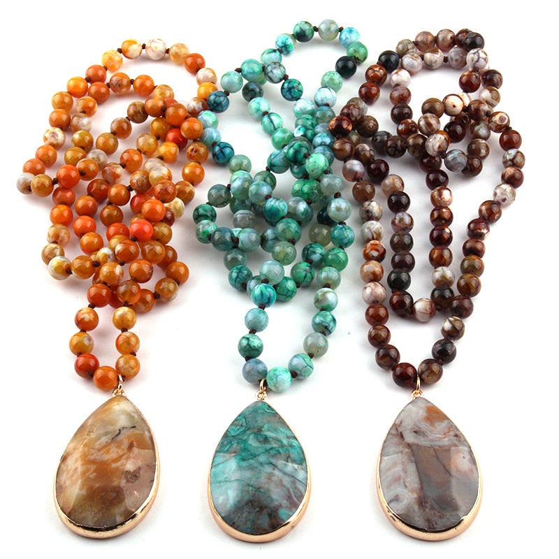 Semi Precious Agat Stone long Knotted Natural  Pendant Necklaces