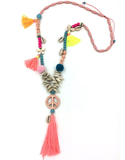 Boho jewelry cotton fringe tassel Bohemia Necklace Peace Symbol charm long Necklaces