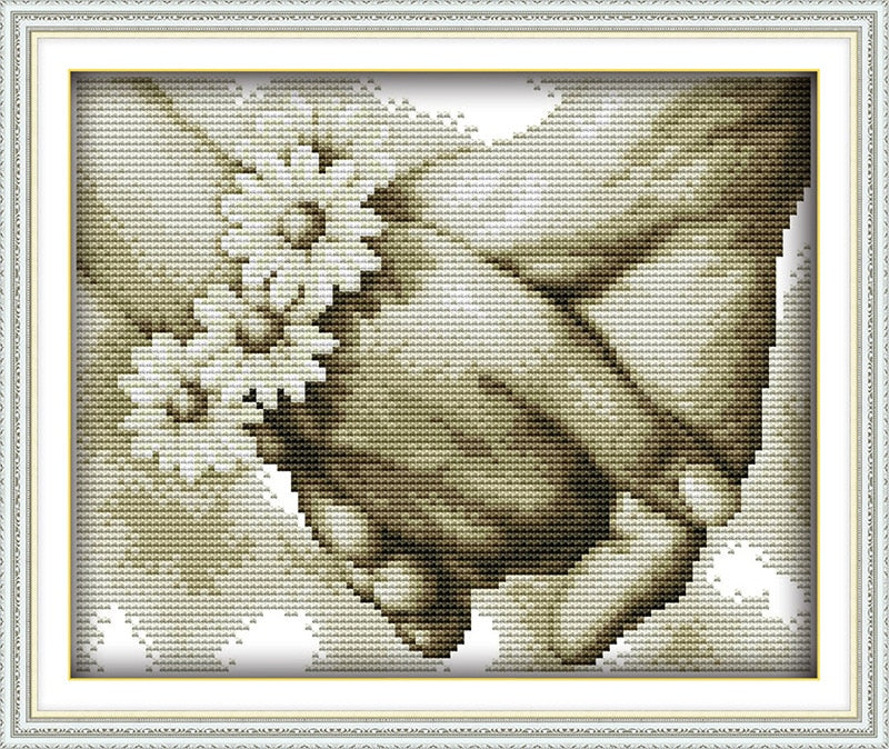 Happy Hand in hand Canvas DMC Counted Chinese Cross Stitch Kits