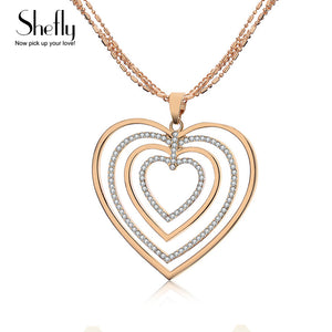 Heart Pendant Necklace Jewelry Romantic Gold Color Maxi Long 2018