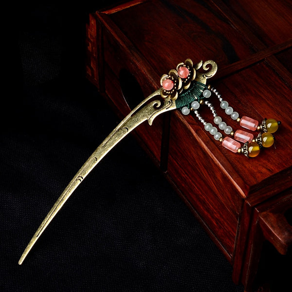 crystal vintage hair jewelry,Aventurine Ethnic hair sticks, nature stones hair pin