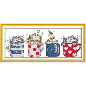 Christmas Cats hide in the cups Chinese cross stitch kits
