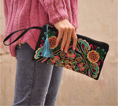 National Floral embroidered Lady Handbag Nice England Style Canvas Flap Carrier bag