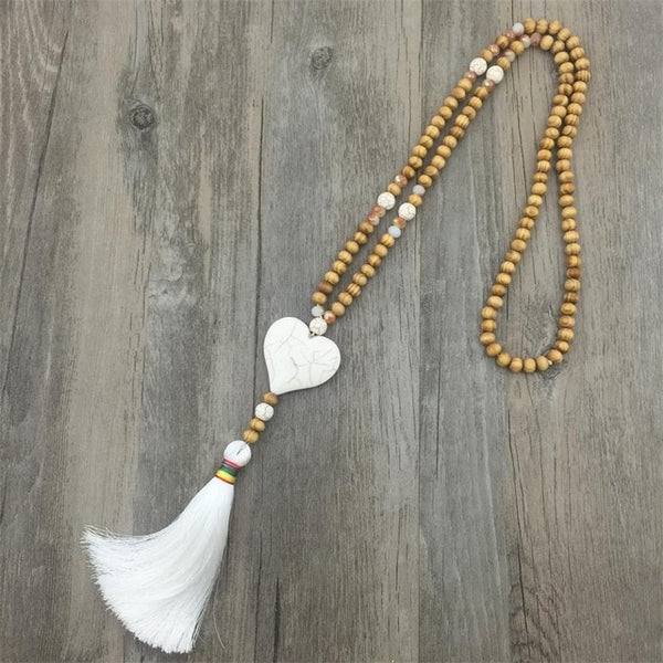 Fashion Accessories Necklace Jewelry Maxi Natural Star Heart Stone Wood Beads Necklaces