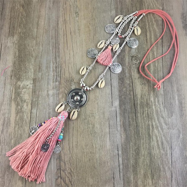 Boho All-match Sweater Chain Necklace Tassel Alloy Around Long Pendants