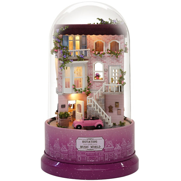 Dollhouse Miniature DIY Doll House Gift with Dust Cover Music B31