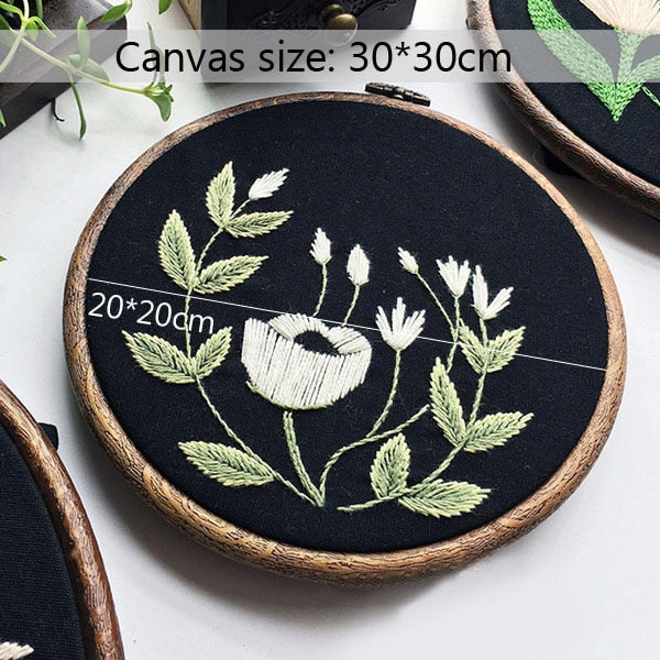 DIY Ribbon Embroidery Printed Black Flower for Beginner Needlework Patterns Kits Cross