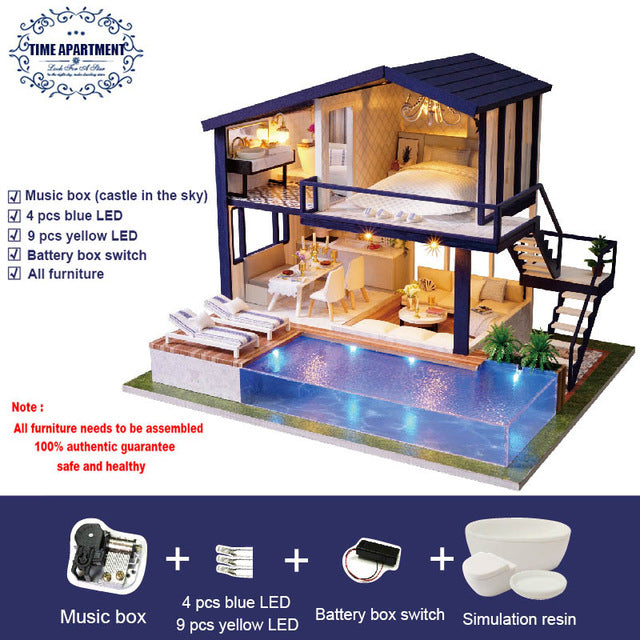 Doll House Wooden Miniature DIY DollHouse Furniture Kit Doll Home Toys A066