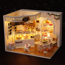 Load image into Gallery viewer, DIY Doll House Furnitures Miniature Doll house Dust Cover Wooden Dollhouse Light