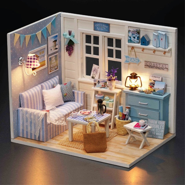 DIY Doll House Furnitures Miniature Doll house Dust Cover Wooden Dollhouse Light
