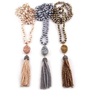 Bohemian Tribal Jewelry Glass Crystal long Knotted Druzy Link Crystal Tassel Necklace