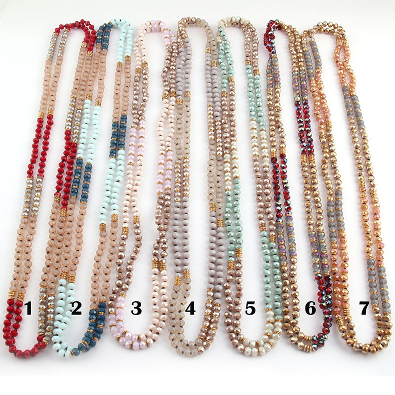 6mm Glass Long Knotted Crystal  Necklaces