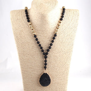 Bohemian Tribal Jewelry long Knotted Lava Stones and Black Lava Pendant