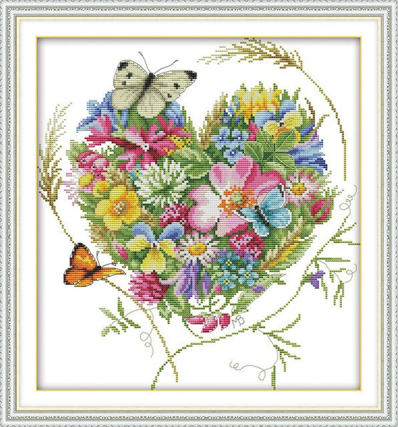 Cross Stitch Kits Counted Cross Stitch Pattern Flower Basket Printed Cross-Stitch Set