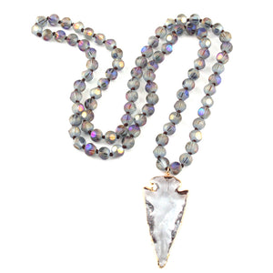 Bohemian Tribal Knotted Crystal Arrowhead Necklace