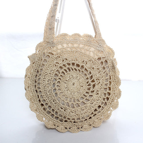 Sun Flower Beach Tote Bag Soft Paper Rope Crochet Round Straw Bag Boho Retro