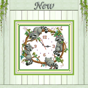 The cute little raccoons decor painting counted print on canvas DMC 14CT 11CT Chinese Cross Stitch