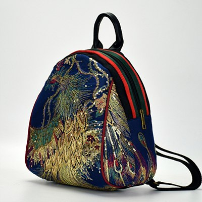 Chinese Style Phoenix Embroidered Backpack Canvas National Tribal Ethnic Embroidered Floral
