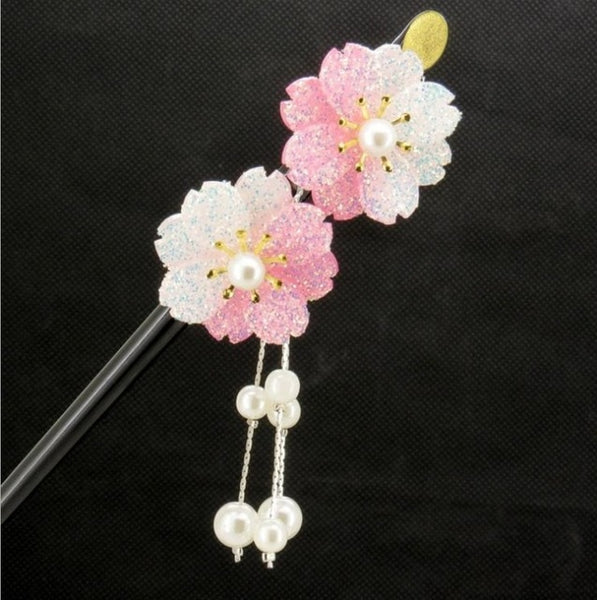 Retro Natural blossoms Hairpin Headdress Handmade vintage  Wedding jewelry Chinese Hair Stick Gift