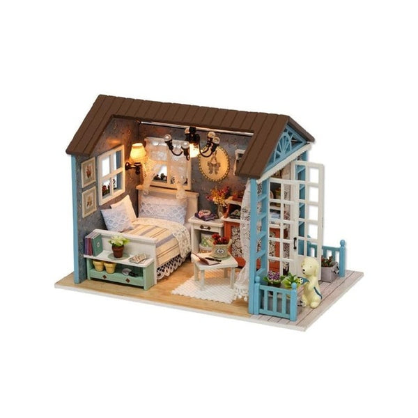 Kids Handmade Doll House Furniture Kit DIY Mini Dollhouse Wooden Toy Gifts Model