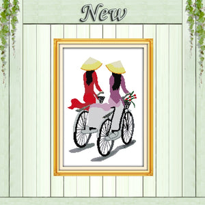 Vietnam girls Riding a bicycle home decor painting counted print on canvas DMC 11CT Cross Stitch