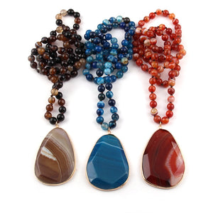 Bohemian Tribal Natural Stone long Knotted Facet Drop Pendant