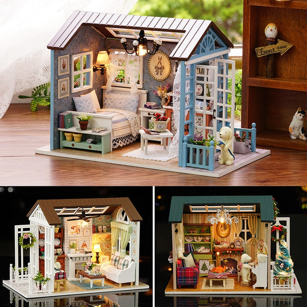 Doll House Miniature DIY Model With Furnitures Toy Forest