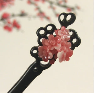 1Pcs Sandalwood Plum blossom Flower Simple handmade Chinese Style Hairpin Gift 2 Color