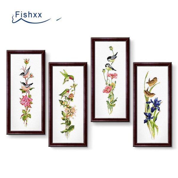 Cross Stitch Kit D102-D105 Animals Kingfisher Four Seasons Floral Rose Poppy Orchid