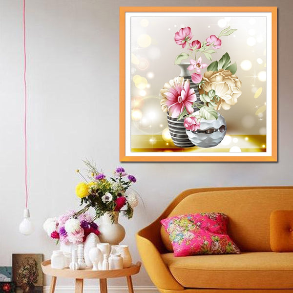 DIY vase Magnolia flowers printed cross stitch patterns embroidery kits