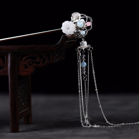 Gold/Silver Crystal Flower Hair Stick Chinese Traditional Handmade Long Metal Tassels