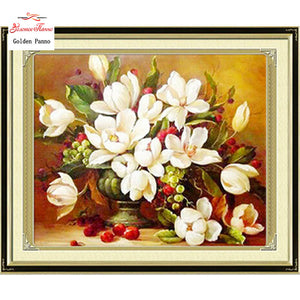 Needlework DIY DMC Cross stitch,Sets For Embroidery kits white flowers